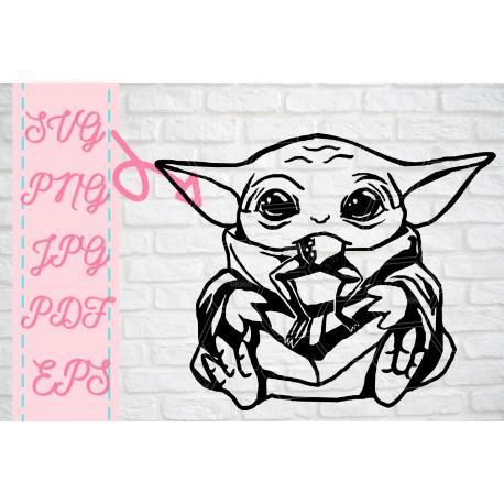 Baby Yoda having meal Baby Yoda inspired SVG + PNG + EPS + jpg + pdf